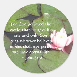John 3:16 Scripture inspirational quote Classic Round Sticker