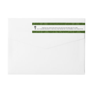 John 3:16 Scripture Personalized Green Trim Wrap Around Label