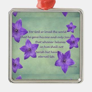 John 3:16 Silver-Colored square ornament