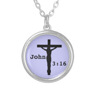 John 3:16 silver plated necklace