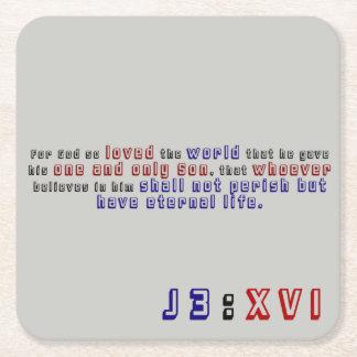 John 3:16 square paper coaster