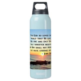 JOHN 3:16 SUNRISE ON THE OCEAN PHOTO INSULATED WATER BOTTLE