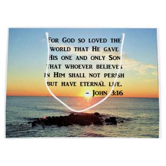 JOHN 3:16 SUNRISE ON THE OCEAN PHOTO LARGE GIFT BAG