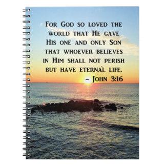 JOHN 3:16 SUNRISE ON THE OCEAN PHOTO NOTEBOOKS