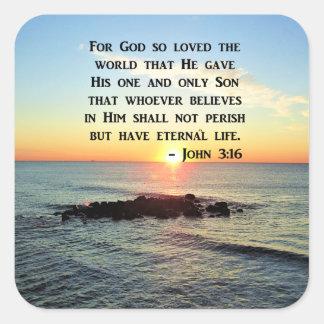 JOHN 3:16 SUNRISE ON THE OCEAN PHOTO SQUARE STICKER