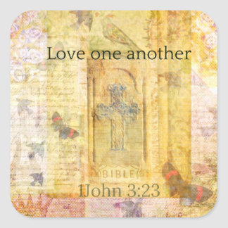 John 3:23 Bible verse about LOVE Square Sticker