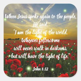 John 8:12 Bible Verse Christian Scripture Stickers
