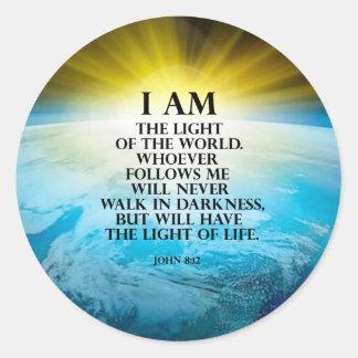 John 8:12 classic round sticker