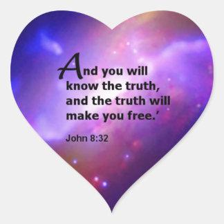 John 8:32 heart sticker
