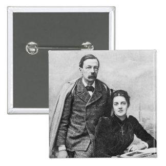 John Addington Symonds  and His Daughter, 1891 2 Inch Square Button