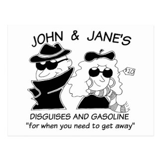 John and Janes Disguises and Gasoline Postcard