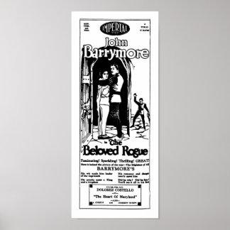 John Barrymore BELOVED ROGUE vintage movie ad Poster