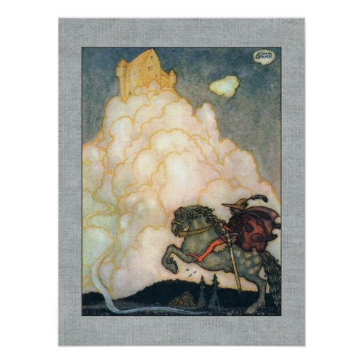 John Bauer Castle of Rosy Clouds Print