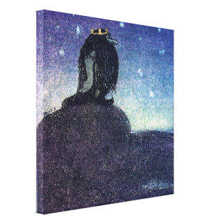 John Bauer King of Troll Mountain in Blue Canvas Print