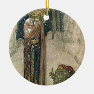John Bauer - Princess and Troll Round Ceramic Ornament