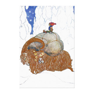 John Bauer The Christmas Goat Scandinavian Canvas Print
