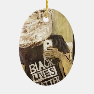 John Brown Selfie/Black Lives Matter Ceramic Oval Ornament