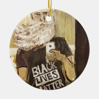 John Brown Selfie/Black Lives Matter Round Ceramic Ornament