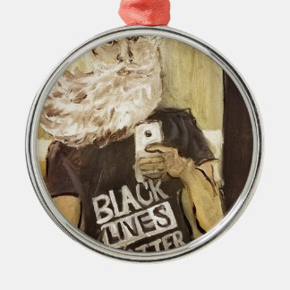 John Brown Selfie/Black Lives Matter Silver-Colored Round Ornament