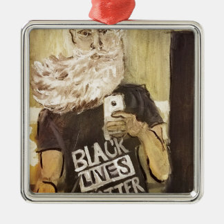 John Brown Selfie/Black Lives Matter Silver-Colored Square Ornament