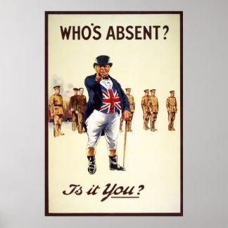 John Bull Who's Absent Poster
