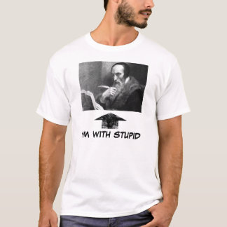 john-calvin-with-book, widearrow, I'M WITH STUPID T-Shirt