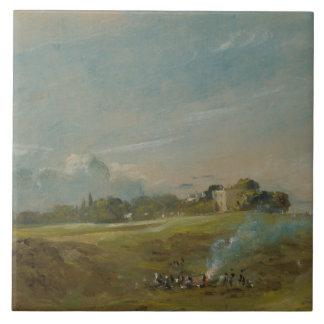 John Constable - Hampstead Heath, with a Bonfire Tiles
