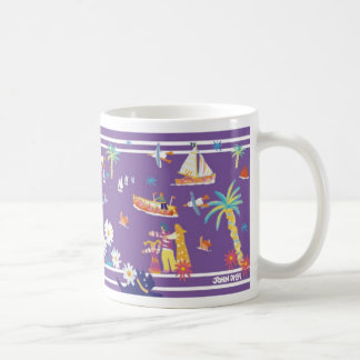 John Dyer purple art mug of Helford in Cornwall