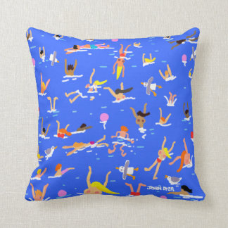 John Dyer Swimmers Cornish seaside cushion