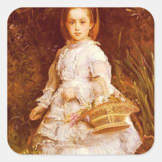 John Everett Millais- Portrait Of Gracia Lees Square Sticker