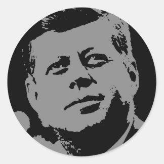 John F. Kennedy  black and grey silhouette Round Sticker