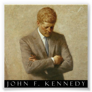 John F. Kennedy Portrait On Canvas Poster