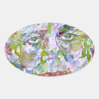 john fitzgerald kennedy - watercolor portrait.1 oval sticker