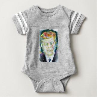 john fitzgerald kennedy - watercolor portrait.2 baby bodysuit