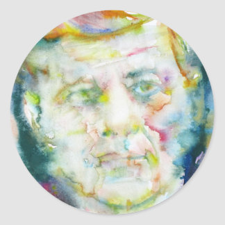 john fitzgerald kennedy - watercolor portrait.2 classic round sticker