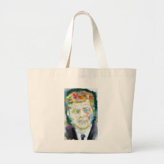 john fitzgerald kennedy - watercolor portrait.2 large tote bag