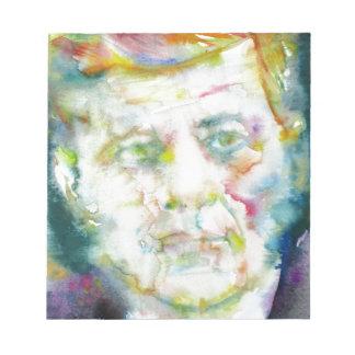 john fitzgerald kennedy - watercolor portrait.2 notepad