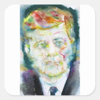 john fitzgerald kennedy - watercolor portrait.2 square sticker