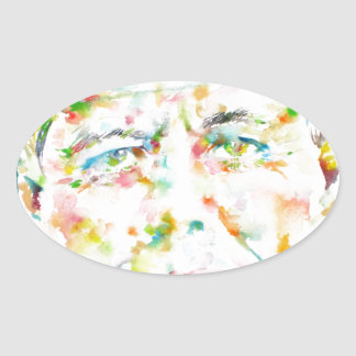 john fitzgerald kennedy - watercolor portrait.3 oval sticker