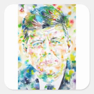 john fitzgerald kennedy - watercolor portrait.3 square sticker