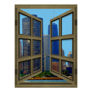 John Hancock Skyline 6 Pane Open Window Poster