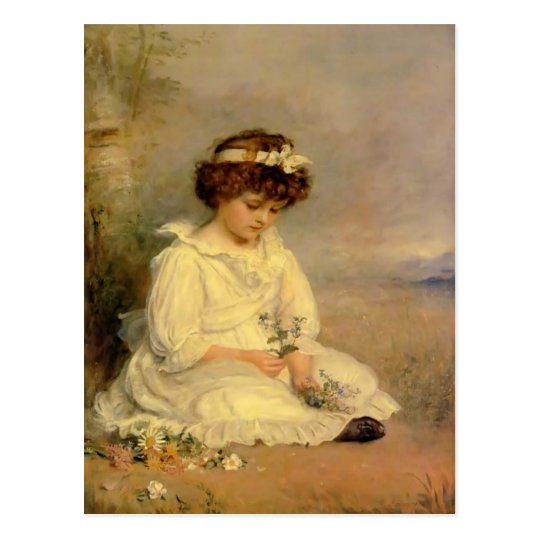 John Millais- Little Speedwell's Darling Blue Postcard