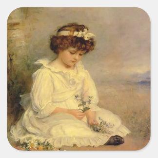 John Millais- Little Speedwell's Darling Blue Square Sticker