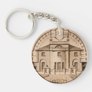 John Plaw Antique Architecture Floor Plan Single-Sided Round Acrylic Keychain