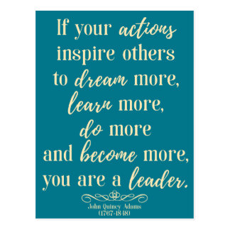John Quincy Adams Quote On leadership Postcard