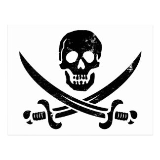 John Rackham (Calico Jack) Pirate Flag Jolly Roger Postcard