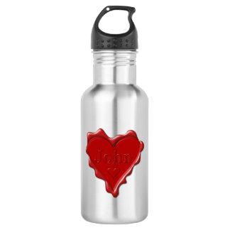 John. Red heart wax seal with name John 532 Ml Water Bottle