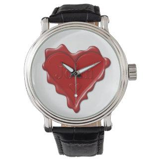 John. Red heart wax seal with name John Watch