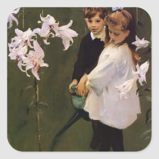 John Sargent- Garden Study of the Vickers Children Square Sticker