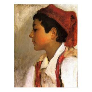 John Sargent- Head of a Neapolitan Boy in Profile Postcard
